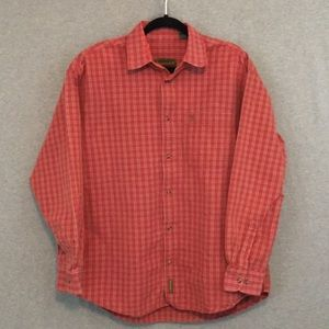 Men's Timberland Red Plaid Long Sleeve Button Up